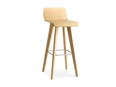 High wooden stool with footrest METRIA | High stool