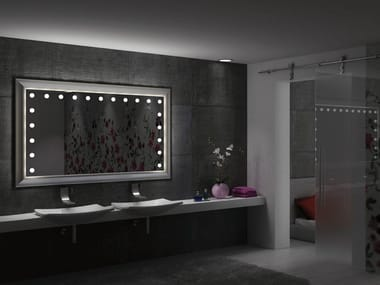 Wall-mounted rectangular wooden mirror with integrated lighting MF LEGNO
