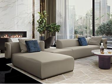Corner modular leather sofa with chaise longue MI | Leather sofa
