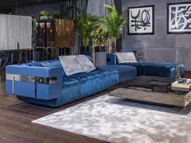 Modular fabric and leather sofa with chaise longue MI   Modular sofa