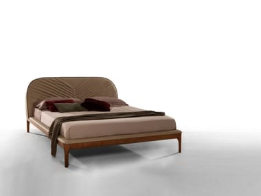 Leather bed double bed with upholstered headboard MICHELANGELO