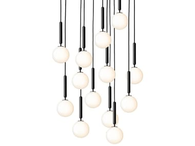 Direct light blown glass pendant lamp MIIRA 13 OPAL