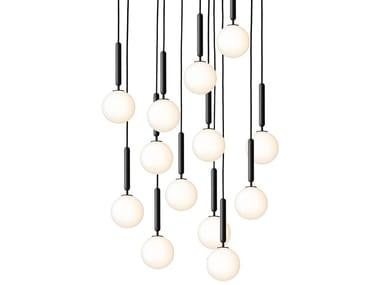 Lámpara colgante de vidrio soplado con luz directa MIIRA 13 OPAL