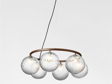 LED blown glass pendant lamp MIIRA 6 CIRCULAR OPTIC
