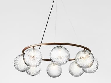 LED blown glass pendant lamp MIIRA 8 CIRCULAR OPTIC