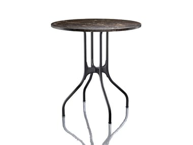 Round Nero Marquina marble table MILÀ | Nero Marquina marble table