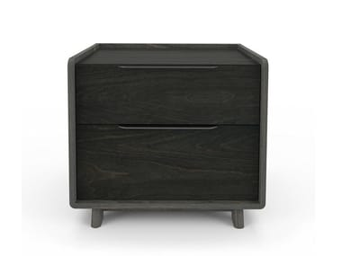 Square birch bedside table with drawers MILES | Square bedside table