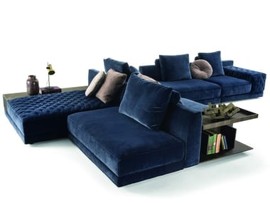 Sectional fabric sofa with integrated magazine rack MILLER DOUBLE