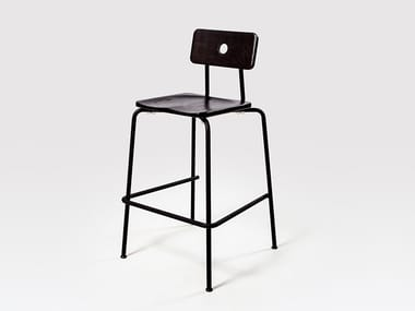 Stackable lacquered steel and wood barstool MILNE | Lacquered stool