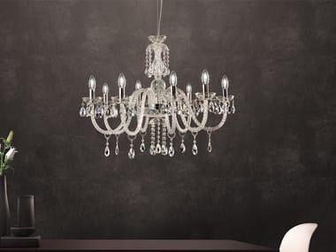 Direct light glass chandelier with crystals MILORD 8