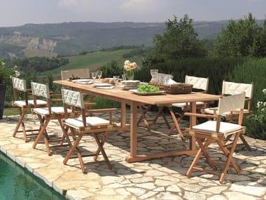 Ausziehbarer rechteckiger Tisch aus Teakholz MILTON | Ausziehbarer Tisch