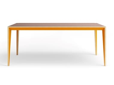 Lacquered rectangular engineered wood table MIMI | Dining table