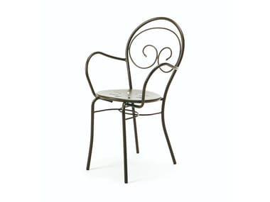 Stackable metal garden chair with armrests MIMMO