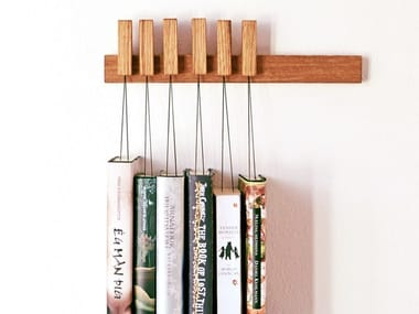 Wall-mounted solid wood bookcase MINI BOOK RACK   English oak bookcase