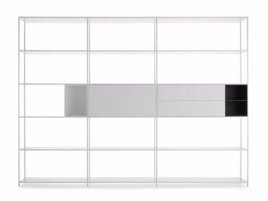 Sectional lacquered aluminium bookcase MINIMA 42