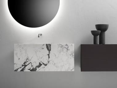 Rectangular wall-mounted Arabescato marble washbasin MINIMUM | Arabescato marble washbasin