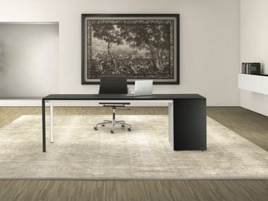 Rectangular laminate office desk with drawers MINIMUM | Office desk with drawers