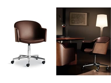 Leather task chair with armrests with casters MIRAGE | Task chair