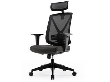 Mesh executive chair with 5-spoke base with headrest MIRO3E