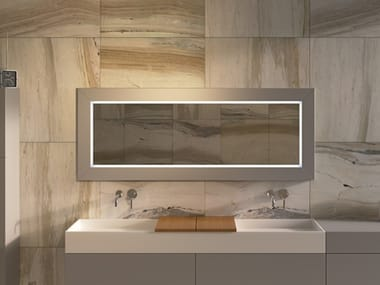 Framed wall-mounted bathroom mirror MIRR WOOD