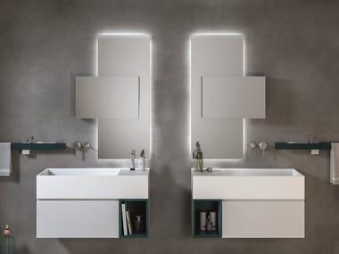 Pensile bagno con illuminazione integrata con specchio MIRR VERTIGO