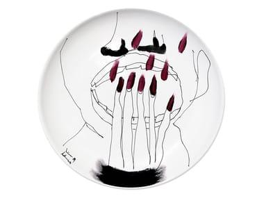 Piatto piano in ceramica MIRROR I