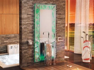 Wall-mounted bathroom mirror with integrated lighting ESSENZA SET ONE | Mirror