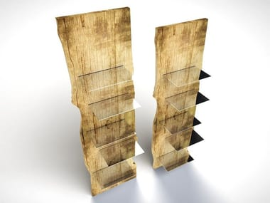 Wood and glass bookcase MIRROR TOTEM