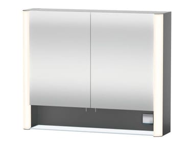 Wall-mounted mirror with cabinet with integrated lighting Mirror with cabinet