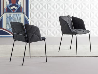 Upholstered fabric chair with armrests MISS WHY NOT