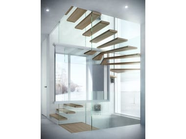 Wood and glass Open staircase MISTRAL MAGIC