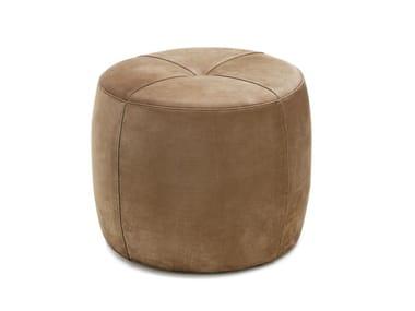 Runder Sitzpuff aus Leder STONE | Runder Sitzpuff