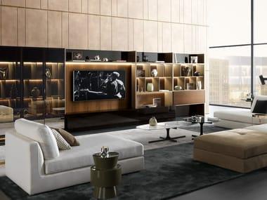 Anbau- TV- Wohnwand mit integrierter Beleuchtung CROSSING | TV- Wohnwand