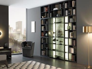 Biblioteca aberta de madeira e vidro CROSSING | Biblioteca de madeira e vidro