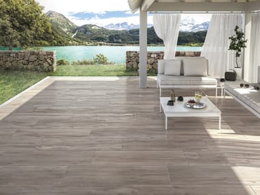 Porcelain stoneware outdoor floor tiles with wood effect MITO BROWN