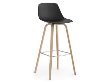 High multi-layer wood stool with back MIUNN | Stool