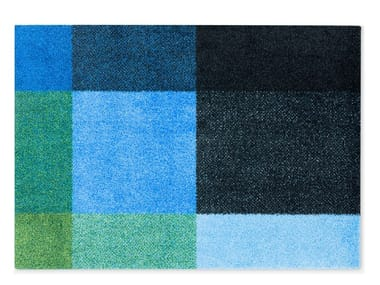 Rectangular recycled material rug MIX FOREST