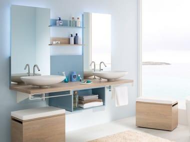 Double melamine washbasin countertop MIXCITY