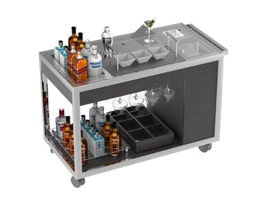 Beverage Serving trolley with shelves Mixology cart