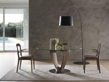 Tavolo in legno e vetro MOBIUS | Tavolo rotondo