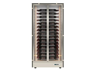 Aluminium wine storage with glass door with built-in lights for more than 100 bottles MOD 10