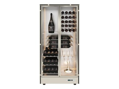 Aluminium wine storage with glass door with built-in lights for more than 100 bottles MOD 14
