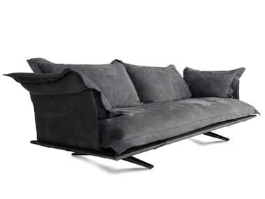 3 seater sled base leather sofa MODEL | Sofa