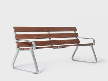 Aluminium and wood garden bench with armrests MODERN