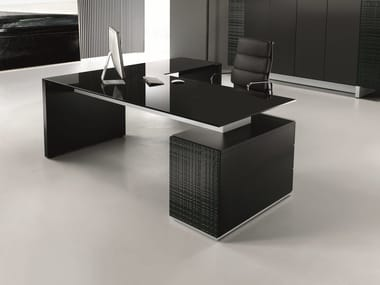 Glass executive desk with drawers MODI | Glass office desk