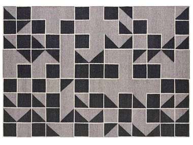 Handmade rectangular wool rug with geometric shapes MODICA GREY