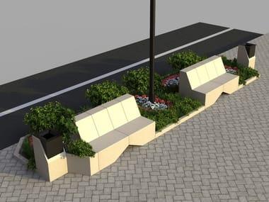 Modular reconstructed stone Bench MODULA 2