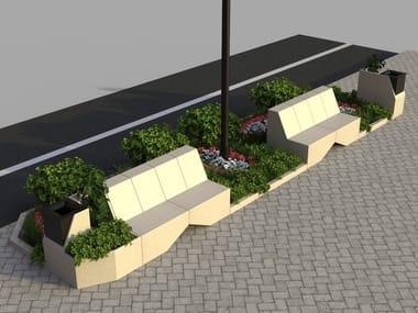 Modular reconstructed stone Bench MODULA 3