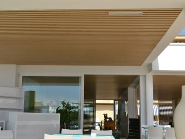 Wood-product ceiling tiles MODULATUS | Outdoor ceiling