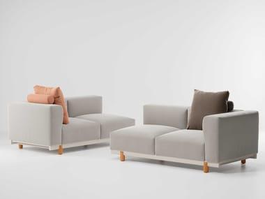 Canapé de jardin 2 places d'angle en tissu MOLO | Canapé de jardin d'angle